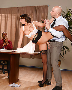 When Stephani gives her first presentation at her new job, she's surprised by the way things go down in this office. Her boss Mr. Sins, interrupts her speech with his hard dick pressing up against her sweet ass. He gropes her huge tits then rips open her blouse in front of all her coworkers. Unfortunately for them, the meeting adjourns right when things start to heat up, as Mr. Sins bends the new employee over the conference table and licks her from clit to asshole. They 69 from 9 to 5, and fuck until they climax in a glorious creampie. With a first day like this, Stephani will never call in sick.