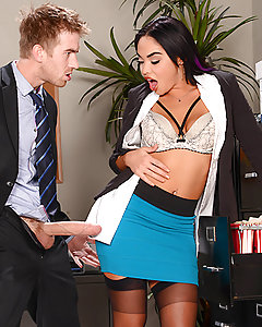 After months of watching his co-worker Selena idle away the hours at her desk, Danny had finally had enough. Even with a stacked latina babe like Selena, how long could a guy watch his lazy colleague snap dirty selfies all day and pretend to suck off bananas? Frustrated with her teasing and taunting,  Danny decided to rise to the occasion and give Selena what she'd always wanted: for a hung guy to take charge, rip open her blouse, and tap that ass. Danny spanked that bad bitch's butt, and bent her over a desk to shove in his whole dick to the hilt. Selena bounced her thick booty on his rod and moaned with pleasure every time he rammed it home.