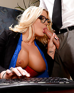 How long do you think can Julie Cash can focus on the reports in front of her, with her main man teasing her and urging her to race home to bone? It took every trick Johnny had up his sleeve to convince Julie to drop the pen and grab the big fat boner he was waving in her face. After pulling down the front of her shirt to play with her massively big tits, Johnny convinced Julie to start sucking on his cock. But Julie was still trying to focus on the job when Johnny brought out the big guns. He bent Julie over the desk and started pounding her from behind until she finally gave up trying to get any work done and fucked him gleefully right there in the office.