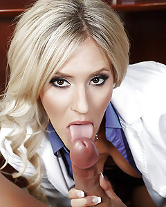 Hospital administrator Marco Ducati has received some complaints about one of his doctors, a busty blonde beauty named Audrey Show. Determined to show his clients that he's no slouch when it comes to disciplining his staff, he calls Dr. Show into his office for a little one on one. Peeling her short skirt off of her juicy round booty, Dr. Ducati gives Audrey a nice spanking and then fucks her pretty face. Stripping down to stockings, garters, and some sexy high heels, Audrey rides Marco's cock, her big fake tits bouncing as she cums all over that big dick!