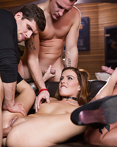 Samantha Joons gets a birthday treat when three men take her back stage and take turns smashing her in. She begins by slowly sucking all of them until they are all hard enough to penetrate this filthy chick. She is spit roasted and, as she sucks and jerks on two other men, her tidy pussy is humped by the third man.