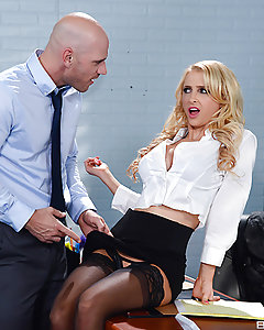 From draining the last of the coffee, to swaggering around the office like she owns the place, Johnny's blonde bitch of a boss is just the worst! But Alix Lynx really crossed the line when she hijacked his delivery and tried on the lingerie Johnny had ordered for his special lady. If Alix wanted to get his attention, and lure him into her office for a fuck, then you can bet Johnny was ready to give her a huge veiny dick to play with. After fucking her mouth and throat in a sloppy two-handed blowjob, Johnny bent Alix over her desk and pounded that pussy so hard it nearly knocked her desk and everything in it to the ground. After Alix jumped on top and rode Johnny's rod, she dropped on her knees for the facial and took a thick spray of cum directly to her mouth and lips!
