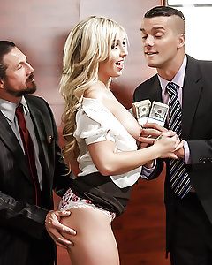 "Another day, another set of weak business proposals for the investors on the hit Reality TV show ""Time to Prove Yourself"" to shoot down. But then Madelyn Monroe arrived to pitch her brand-new invention: a pleasure bud uniquely adapted to please any woman who stuffs it in her pussy. Nothing caught the judges' attention like the moment Madelyn peeled up her skirt and showed off her big thick ass, then slid her new sex toy right up her butt. They were willing to back her, provided she give a hands-on demonstration of her slutty skills, namely how she sucks and fucks cock. Madelyn dropped to her knees to give Tommy and Ramona double blowjob, then straddled a cock while opening her asshole for a rough double penetration fuck that had her begging those boys for every sweet inch of dick they could give!"