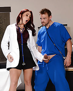 There's no text book answer for Dr. Monique Alexander's fever for fucking, so her med student Erik is going to have to come up with a more hands-on approach. Tired of his incessant ass-kissing, Monique wants the pussyfooting around to stop, and the pussy fucking to begin! There may be a patient in the room, but that doesn't stop this dirty doctor from stripping down, showing off those big fake tits and tight little asshole. Sure, Erik's a bit of a dunce, but apparently anyone can get into this med school if they have a dick big enough to satisfy Dr. Monique's anal cravings, pounding that booty hard enough to leave an extreme gape, and making her quiver with pleasure as he gives her a wet anal creampie.