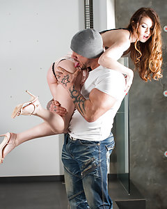 WARNING THIS SCENE IS HARDCORE! Misha's husband leaves her home alone with the gardener, bad idea. This horny little housewife is carried upstairs and has her perfect pussy eaten from behind. Miss Cross is a deep throat specialist and she takes a hard face fucking while she is slapped and spat on.