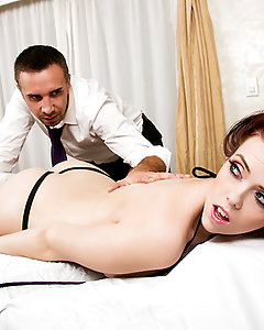 When busty babe Ryan Smiles booked her vacation at a five star resort, she was expecting quality service, gorgeous beaches, and plenty of sunshine. Unfortunately, since she got there, all she's been getting is rain, rain, and more rain. She takes her complaint to Keiran, the manager, and he offers to give her a free 5 star massage to make her stay more pleasurable. He starts by rubbing some oil on her juicy booty and big natural tits, and that makes her so wet that she's got to get a piece of his fat cock! He fucks her in her wet pussy and tight ass, and then blows his load on her gaping asshole, because customer satisfaction is always guaranteed!
