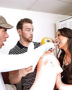 Kaylynn's son is coming home for a bachelor party, but thanks to a flight delay, his buddies Mick and Erik got there first. They brought a blow-up doll as a gag gift, but having their buddy's mom see them with it is a little embarrassing. Mick and Erik try to make themselves scarce while Kaylynn finishes cleaning, but when she walks in on them playing with the blow-up doll, it gives all three of them an idea. Mick and Erik strip Kaylynn out of her tight black dress so they can worship her amazing titties for a while, and then Erik starts warming up her pussy with his tongue while she busies herself sucking on Mick's fat cock. She sucks and fucks both of their hard dicks before spreading her legs wide for a sweet double penetration! Mick and Erik fuck all of Kaylynn's pretty little holes and then blow a couple of big loads on her smiling face, because nothing gets a bachelor party going like a little DP!