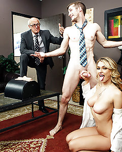 Dr. Natalia Starr is a leading expert in the field of the female reproductive system, and rookie salesman Brick Danger really wants to get her to consider their new product, the Orgasmtron 2000. The Orgasmtron 2000 is a marvel of modern science, but Natalia wants nothing to do with it. Brick and his boss tell her to keep their sample and try it out for herself, and before long, curiosity gets the best of the blonde haired beauty and she gives it a whirl. The Orgasmtron lives up to its name, and Natalia is cumming hard in no time flat. Brick, sensing an opportunity, whips out his fat cock. The Orgasmtron works its magic, and Natalia is so damn horny that she starts sucking and fucking that swollen member like a real horny slut! Her natural tits bounce as she rides Brick's big dick, and then she takes a big facial cumshot. Looks like Brick made his first sale after all!