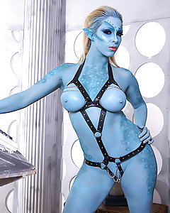 This week, in the thrilling conclusion to the Doctor, we find out hero in the midst of an erotic interlude with a sexy mutant (AKA Victoria Summers). Her skin may be blue, but she's got big tits and an incredible body, so the Doctor goes to town, fucking her hard and blowing a load all over her face. But when Big Blue brings them to a 26th century prison planet, things take a turn for the worst! It's the Doctor and his lovely assistant Victoria (AKA Georgie Lyall) in an exciting team-up with the Doctor's old nemesis, Mistress Leigh Darby! Fearing for their lives, the trio has an amazing threesome, with Leigh and Georgie taking turns licking each other's tight pussies and fucking the Doctor's huge cock. Our hero blasts a huge facial cumshot for the busty blondes to share, but now that they've used up all their time fucking, will there be time enough to save the day?