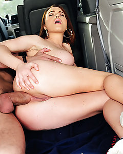 Krissy Lynn was hitchhiking across America, using her big tits to get rides, when Mick Blue pulled over to pick her up. She was in the car for less than five minutes before she started being disrespectful and annoying, making Mick pull over to kick her out. But when she wouldn't leave no matter what he said, Mick decided that it was up to him to teach this horny slut a little respect! He stripped her down and then licked her pussy and asshole until she was dripping wet. Mick fucked all three of Krissy's tight holes, and Krissy deepthroated that cock like a pro before taking it balls deep in her pink pussy and tight ass.