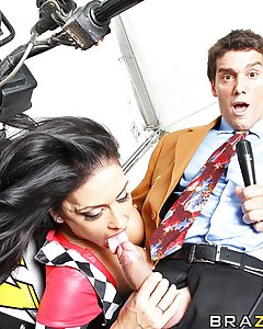BNN reporter Ramon Nomar interviews stunt woman  Jessica Jaymes after her fantastic 4-wheeler performance. Jessica is still high on adrenaline and horny as hell. Ramon just had to ask the right questions to get Jessica to give him a private performance he won't soon forget.