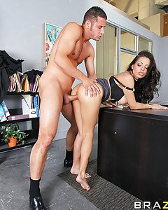 Yurizan loves to finger herself during work, she gets so wet her juices soak up between her fingers. The hornier she gets the more she desires a cock. Danny is Head of the IT department, he gets called over by Yurizan to check if the computer under her desk is working; in doing so he kneels down only to see her spread her pussy in his face. It's clear what fixing he needs to do now.