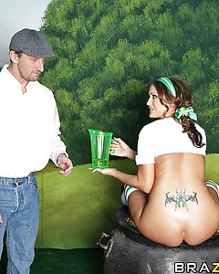It's St. Patty's Day Extravaganza! Trina is teasing, dancing, and showing of her booty. She uses the dildo and anal beads on herself before Mark appears. Mark is a regular Irish fellow looking for a pot of gold. He follows the rainbow until he gets to the end. Not only does he find a pot of gold, he finds the greatest treasure of all: Trina's Booty.