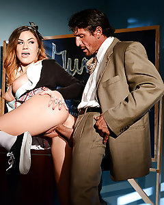 Karmen Karma is a star student with a big crush on her teacher Mr. Gunn. She's his favorite student, but sometimes she likes to fantasize about being a dirty slut who could seduce her studly professor. Mr. Gunn would tear the clothes off of her body revealing her perky tits and tight ass, then she would drop to her knees to give him a spectacularly sloppy deepthroat blowjob. She would take her teacher's thick cock balls deep in her tight schoolgirl pussy, cumming hard as Mr. Gunn fucked her deep and then blew a huge cumshot all over her pretty face!