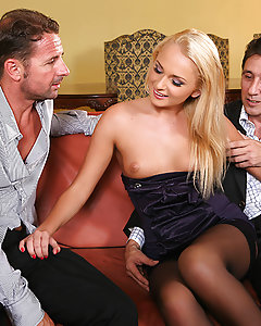 Before picking up a hot blonde at the swingers party they were at, Steve made sure his wife gave him permission. All around, people were fucking and getting blowjobs in dark corners, but Steve took Ivana Sugar right to a couch in the open to fuck her sweet pussy. Another guy came over and joined Steve in fucking this girl where anyone could see. While Ivana bounced on David's cock she sucked Steve off, slamming her ass on his lap as hard as she could. Then both guys fingered both her holes while they warmed her up for anal sex, and to get a hard DP fucking.