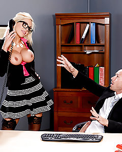 For his anniversary, Johnny Sins was doing his best to finish early so that he could get home and fuck his horny wife. But his slutty boss Nina Elle was jealous, and wanted Johnny's big dick all for herself, so she told him he had to stay late and finish up some quarterly reports. His horny wife initiated a little phone sex when he called to tell her, and while he was distracted jerking it, Nina snuck in his office and started giving him a blowjob! She sucked and titty fucked his big dick while his wife talked dirty to him over the phone, and then Nina hung up for him so he could eat her wet pussy. He fucked her deep, making her big titties bounce as she came hard on his fat cock, and then he gave her a facial load!
