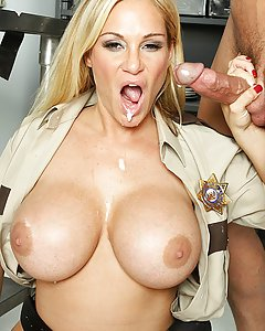 Tyler is an overworked state trooper who just wants a cock and a burger. But to get the burger, she has to deal with annoying fast food worker Tommy. After one too many stupid jokes Tyler loses it and shoves Tommy's face in her big titties. She fucks him right then and there to show him what happens when you tease an officer of the law.