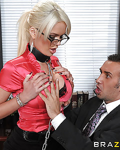 Alexis' sole responsibility at ZZ corp is to ensure the comfort of the employees, facilitating their transition from stuffy cubicle jobs to the world of private offices complete with concubines. ZZ corp cares about you, and won't let you get stressed out, even if it means tit-fucking you while you're trying to work.