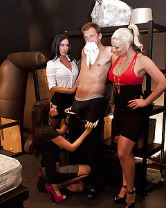 When word gets around at the office that Mark Ashley is a Grade-A man-whore, Jessica, Kortney and Phoenix decide to gang up on Mark and turn him into their personal little bitch who's only goal in life is to service them whenever and however they please!