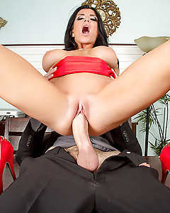 Romi Rain rules over her office with an iron fist. When an employee is caught slacking, she makes an example out of them. But when Danny D complains to management, Romi's told to make her employees like her or else she'll be fired! The first thing the busty boss tries is an apology, but her employees aren't buying it, so she uses the one tool that never lets her down: her big tits! She whips out those beautiful boobs of hers, shakes them around, and then pulls out Danny's fat cock too. She sucks and fucks that big dick like a real slut to prove once and for all that she's the best kind of team player!