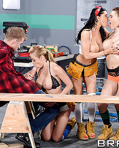 When Danny D falls off a ladder in the shop, he hits his head and starts to have the most wonderful dream: three of the hottest busty babes, Krissy Lynn, Mia Lelani, and Romi Rain, teasing him with skimpy outfits and power tools. Not one to waste an opportunity, Danny whips out his fat cock so they can get to work giving him some real satisfaction! He fucks those buxom beauties one at a time while the other two eat each other out, and once he's fucked all of their mouths, faces, and big tits, he gives those dream babes the facial of a lifetime!