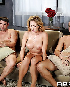 Capri Cavanni's marriage has been getting stale, and everybody knows it. Day after day it's the same boring dinner, the same stale conversation, and the same passionless missionary position sex. So when yet another Friday movie night rolls around, her man Toni decides enough is enough, and does what he has to do. In order to satisfy his horny nympho of a wife, Toni brings in his buddy Keiran, another big cock for her to suck and fuck! Keiran and Toni bend her over and double stuff that hot body of hers until all three of them have cum nice and hard! But will it be enough to save their marriage?