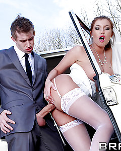 When Danny first started working as a chauffeur, he never expected the amount of attitude he'd have to take from rich clients. When one asshole left him alone with his bride-to-be on the way to the country chapel, Danny pounced on his chance to get a piece of that sweet pussy. Donna Bell wanted to get her horny hands on a nice cock before marrying herself off, but she wasn't expecting a dick this big or fat. Check out the raunchy action that went down in the back of this limo, as Danny pounded the fuck out of that posh cunt.
