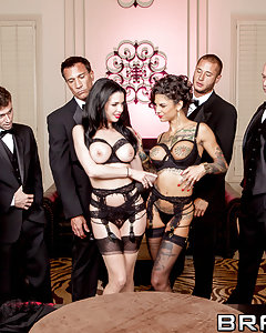 Veronica Avluv and her husband have arranged to enjoy her ultimate fantasy tonight: five well-hung dudes are booked to show up at her mansion and help bang the sweet fuck out of all her holes. She's brought along her slutty little assistant Bonnie Rotten, to help her push beyond the limits of what you thought possible, until they squirt on all the furniture, spraying hot cum over and over. Get ready for an epic hour-long fuckfest, with six dicks laying down Double Vag, Triple Penetration, double-sucking, and more filthy DPs than you can shake a dick at!