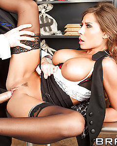 Bank Manager Deen has been trying forever to get a piece of Madison Ivy's sweet ass. But nothing he tries will bring her any closer to fucking him. Until being tied up in the vault during a random robbery gets Madison's pussy so wet, she can barely handle it. Once the robber clears out, she begs Deen to play the bad boy and stuff her tight box with dick.