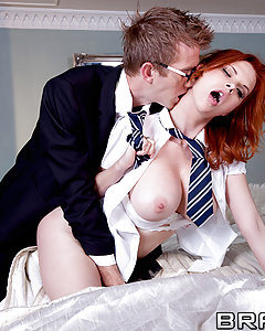 Ever since he wrapped things up with the evilest wizard in the land, Hairy's been causing all kinds of trouble. Even a second stay at Hogwarts School for Jizzards isn't helping. He's been tranforming his classmates into dildos, and conjuring up hot pieces of ass to bang. Check out his masterwork: a redheaded fuckdoll with big natural tits and a sweet ass for him to stuff full of his massive wand.