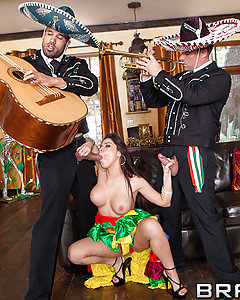 It's Cinco de Mayo, and to celebrate, famed Mariachi players are going to serenade Aleksa non stop with their sweet Latin music. It may take time, but these men are determined to put Aleksa in the mood for passion, and it isn't long before they're having a full on fuck fiesta!