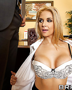 Office secretary Sarah is having a bad day. She's stressed and behind on her work. So when Danny comes in for an interview, she decides to take things into her own hands and blow off some steam. Or rather, take the cock in her pussy then swallow some cream.
