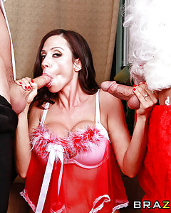 Ariella Ferrera decides to bake some cookies for Santa before heading to bed, but every time she looks the cookies are gone! Turns out her naughty butler James has been eating all the cookies and when she catches him eating up her last batch, Ariella is furious. If James is that hungry, Ariella will give him something to eat....her wet pussy! While Ariella rides James' face, Santa comes down the chimney, and he is starving! Since there are no more cookies left, Santa & James will have to share Ariella's tight little holes.