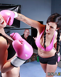 Lexi Ward is challenging for the ZZ Women's Boxing World Championship and failing miserably. That is, until one of her trainers, Johnny provides her with the secret ingredient to motivate her to victory - his rock hard cock. After beating the champ, Lexi and Johnny celebrate by getting down and dirty in the ring.