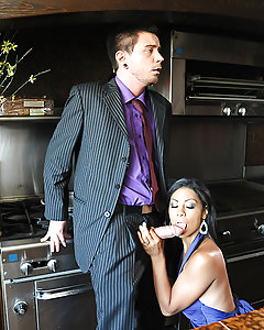 Cassandra Cruz's husband Tommy is having a dinner party with some of his employees, and when he won't stop telling embarrassing stories, his smoking hot Latina wife Cassandra Cruz gets a little pissed off. She slips a little something into his drink to get him out of the way so she can be alone with his right hand man Dane Cross. At first he's a little scared he's going to get fired, but as soon as she starts jerking and sucking on his big dick, he forgets all of that quick. Cassandra deepthroats Dane's dick and then spreads her luscious legs so he can eat out her tight little pussy. Once she's dripping wet and ready for his dick, he fucks her hard and then blows a load all over her pretty face! Now that's an employee benefit!