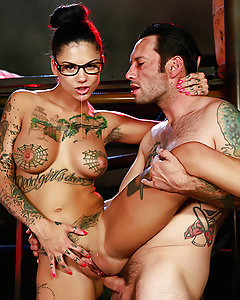 Lee Walden Griss's sinister plan has almost come to fruition, and to celebrate, his lover (Bonnie Rotten) has come to please him. She gets on her knees to suck his dick and gives him one of the sloppiest, spittiest, deepthroat blowjobs of all time. When he's done fucking her face, he wastes no time with foreplay and goes straight for the anal sex, fucking her tight little asshole until her pussy squirts. Mr. Griss uses all of her holes, going from her wet mouth to her tight pussy to her juicy little ass and then back again, finally blowing a huge cumshot all over her pretty face!