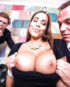 Satin Bloom and her husband are looking to buy a new house, buy as sex-crazed swingers, they need to make sure that every room in the place is ready for their kind of parties. Enlisting the help of their real estate agent Cage, Satin goes from room to room, checking that the bed makes her big fake tits bounce, that the stairs are wide enough for cock sucking, and that the walls are thick enough for Satin to have a screaming orgasm without waking all the neighbors. So Satin sucks and fucks cage's big cock while her husband listens from outside, taking his dick deep in her throat, her wet pussy, and even her tight ass. Looks like Cage made a sale!