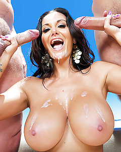Ava Addams doesn't need an excuse to peel her bikini off and get naked outside in her backyard. Feeling the hot sun on her big, bouncy breasts as she splashes in her pool, and knowing any of her neighbors could be watching her sunbathe outdoors always gets this Milf so turned on. When her fuckbuddy turned up in her backyard ready to bone, Ava jumped on that cock like the greedy nympho she is. After deepthroating all of Keiran Lee's cock, she titfucked him between her massive jugs. Feeling particulary horny, Ava let him split her ass in two with a hard anal fuck. When another guy showed up, Ava opened her sweet holes so these cocksmen could DP her, stretching out her pussy and asshole at the same time.