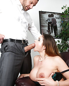 Jay Snake keeps telling his busty receptionist Cathy Heaven to stop wearing such revealing clothing to work, but she's such a cock-hungry slut that she just won't listen! One day, she spills some coffee on his lap, and uses the opportunity to rub his fat cock through his pants until he starts to get hard. Unfortunately, that's the exact moment his wife picks to visit him at work! After Mr. Snake's wife storms off in a fury, Cathy knows its her chance to make her boss feel way better. She pulls out her big tits and Jay worships them, sucking the nipples and then eating out her tight pussy. Cathy spreads her legs for her boss and takes his fat cock deep in every one of her holes, taking that big dick deep in her juicy ass until Jay's ready to bust a nut all over her big titties!