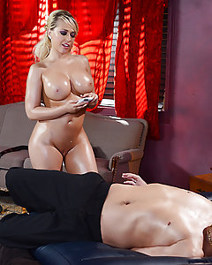 Kagney Linn Karter is a private investigator who is indisputably the best at what she does. Not everyone in the police agrees with her slutty methods, but when the Police Chief needs to get the job done no matter what, it's Kagney he calls. So when the Chief finds out a string of robberies has been going down, he gets Kagney on the case. Her first move is to track down Xander Corvus, one of the guys responsible for the fiendish crimes, and fuck some answers out of him by posing as a lowly masseuse down at the local rub and tug joint. She starts by working his thick cock with her hands and feet, sucking and stroking it until he's hard as a rock. She spreads her legs and takes his big dick balls deep in her tight pussy, fucking her way to one monster facial and a big lead towards solving what could end up being the case of her career!