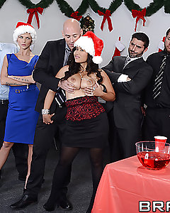 Jessica is quitting her boring desk job in the best way possible: by crashing the office Christmas party, stripping on the punch table and fucking a lucky co-worker. Her big tits, tight pussy and wild horniness make sure this is a party no one will forget.
