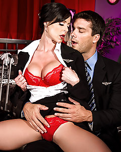 Kendra Lust has been enjoying a double life for as long as she can remember. An air stewardess by day, and a high-class call girl by night in every city she stops in. Today she's meeting with Ramon, and she's going to enjoy a fantasy of her own. She handed him a pilot's uniform and started up with a raunchy lap-dance. As she ground her juicy Milf ass into his lap, Kendra felt his fat cock standing tall and stiff. Like a good little whore she bent over and took the whole thing into her mouth, then jumped into bed to fuck. When you see Ramon thrusting in and out of her tight pussy from behind, you'll see he really got his money's worth.
