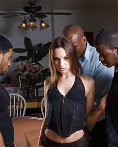 The black gangbang crew is at it again and this time it's petite white slut Amber Rayne in their sights. She loves big black dick, whether she's blindfolded or just having her face pressed firmly against their belly as that long dong reaches all the way down her tight throat! DP and Cum for All!