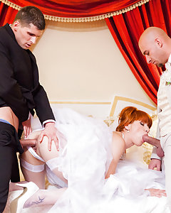 It may be her wedding day, but that doesn't mean Lucy Bell has forgotten how to play! See her in the hotel suite satisfying a full lineup of groomsmen with double penetration action and deep fucking worthy of a true pornstar. Beneath her sheer white wedding veil is a whole lot of fresh hot cum!