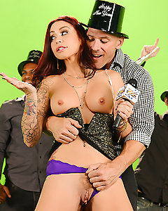 Monique Alexander got stuck doing some boring-ass New Years Eve show, so to spice up the last night of 2014, she decided to send out a group text to all her fuck-buddies: first one to get to the studio gets to cum all over her pretty face! Johnny Sins made it there lickety-split, ready to play with her big tits and tight pussy until she was dripping wet. Monique dropped to her knees to suck on his fat cock, and then rode that dick like a champion all the way to her first facial of the New Year!