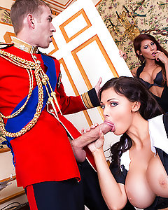 Madison Ivy's tour of London continues with her lifelong dream of making a Palace Guard on duty move. After groping Danny's big sausage, and teasing him, she finally got Danny to give her bare breast a honk! Madison continued her scandalous ways inside the palace, copping pieces of silverware and shoving them inside her bra! Inside Buckingham, Madison slipped into the private rooms and found the prince fooling around with a maid. Better believe she wanted to give him a blowjob fit for a king! Along with the maid, Madison took her time enjoying the royal scepter, and getting thrown the biggest bone of their lives!