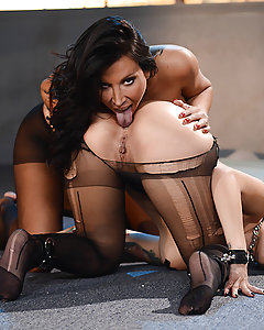 The only thing hotter than a big-titted beauty like Lezley Zen stripped naked and waiting for her pussy to get stuffed is when Katrina Jade is the one getting ready to fuck her! The busty bisexual babes use candle wax, chains, whips, and dildos to make each other cum as hard as they can, and you won't be able to handle the anticipation as Katrina and Lezley slowly build up to a mind-blowing climax! These horny sluts please each other with every part of their bodies, from their tongues to their toes, so make sure to check out the most hardcore lesbian fuck fest yet!