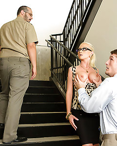 Madison Scott has problems paying attention at her work, because she just can't keep her eyes off her hunky co-worker Brick Danger. When the clock approached 3:30pm, Brick snuck off, and Madison waited feverishly for her chance to meet Brick in the stairs for their afternoon quickie. Waiting even five minutes made her so pussy ache with desire to bone, and the chance of getting caught made her even hornier. When she finally locked lips with Brick, and felt his hands on her ripe big boobs, Madison was in heaven. Watch how she sucked him off, and how Brick gave her a one-way ticket to pound-town in the office stairwell like the dirty office slut she is!