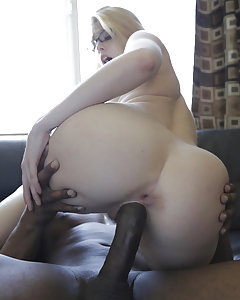 Blond babe Allie James is not so nerdy when it comes to cock and any color cock will satisfy her tight craving pink pussy. She opens up a bit with her toy before gobbling down some inches to make sure that meat is wet enough to spread her hot pussy wide. Allie fucked that cock just drooling for a face full of hot cum.
